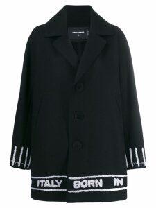 Dsquared2 logo tape single breasted coat - Black