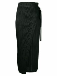 Pleats Please By Issey Miyake asymmetric wrap skirt - Black