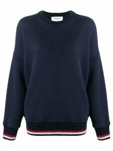 Thom Browne Oversized Crew Navy Sweatshirt - Blue