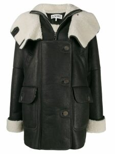 Loewe shearling-trimmed coat - Black
