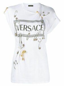 Versace vintage logo safety pin T-shirt - White