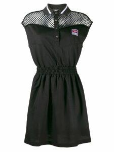 Diesel mesh panelled polo dress - Black