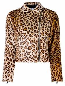Liu Jo leopard print faux fur biker jacket - Brown
