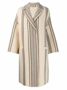 Brunello Cucinelli striped print coat - Neutrals