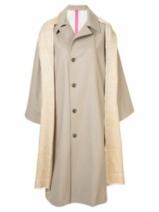 Y's shawl detail coat - Neutrals