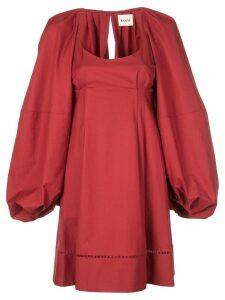 Khaite oversized balloon sleeves dress - Red