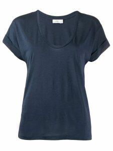 Closed plain U-neck T-shirt - Blue