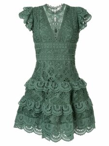 Sea embroidered flared dress - Green