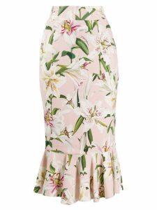 Dolce & Gabbana Lilium-print midi skirt - Pink