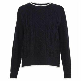 Great Plains Tipped Cable Knit Raglan Jumper