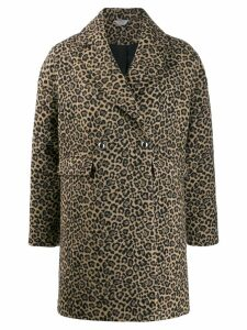 LIU JO double breasted leopard print coat - Brown