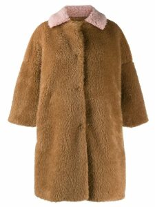 L'Autre Chose faux-fur midi coat - Brown