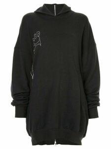 Y's logo print hoodie - Black