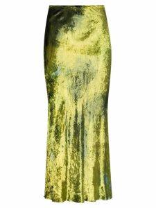 Collina Strada velvet tie-dye midi skirt - Green