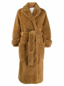 L'Autre Chose belted single-breasted coat - Brown