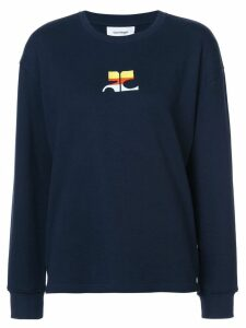 Courrèges logo embroidered sweatshirt - Blue