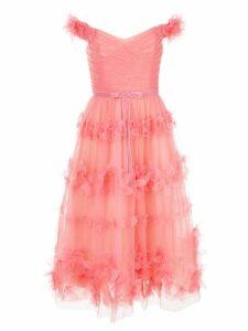 Marchesa Notte floral layer dress - Pink