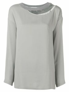 Fabiana Filippi layered neck blouse - Grey