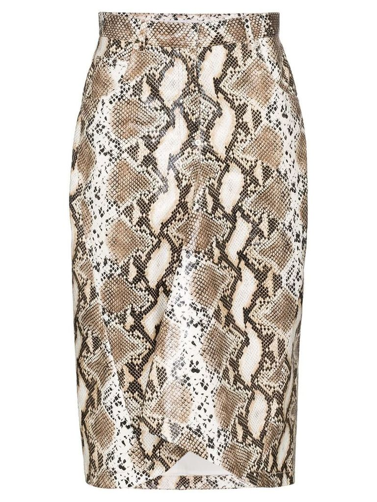 pushBUTTON python-print pencil skirt - Brown