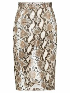 pushBUTTON python-print pencil skirt - Brown