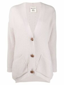 Semicouture ribbed V-neck cardigan - Neutrals