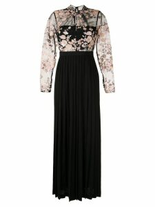 Self-Portrait floral embroidered dress - Black
