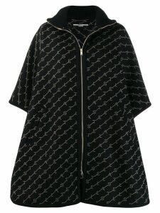 Stella McCartney embroidered logo cape - Black