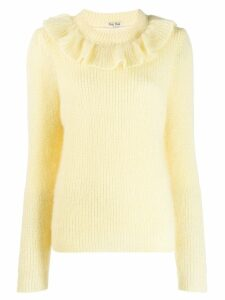 Miu Miu ruffled neck sweater - Yellow