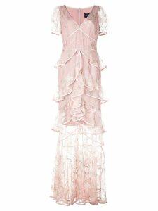 Marchesa Notte layered ruffle mesh dress - Pink