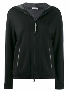 Brunello Cucinelli hooded jersey track jacket - Blue
