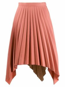 Acne Studios contrasting fabrics pleated skirt - Orange