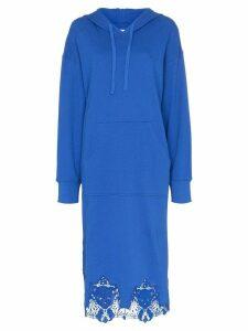 pushBUTTON lace-hem hoodie midi dress - Blue