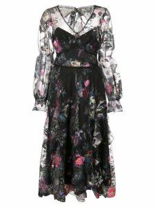 Marchesa Notte ruffle floral dress - Black