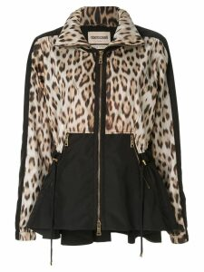 Roberto Cavalli leopard print cinched jacket - Black
