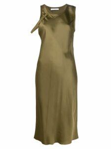 Helmut Lang harness detail satin dress - Green