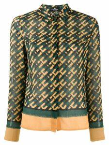 Elisabetta Franchi logo print shirt - Green