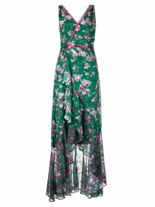 Marchesa Notte long floral wrap dress - Green