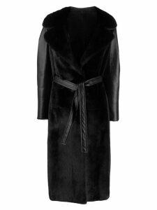 Blancha textured belted coat - Black