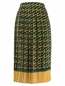 Elisabetta Franchi logo print pleated skirt - Green