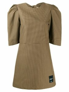 MSGM checked puff sleeve dress - Brown