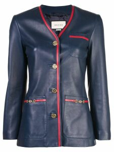 Gucci tailored leather blazer - Blue
