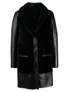 Blancha textured single-breasted coat - Black