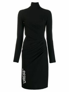 Off-White turtle neck mid-length dress - Black