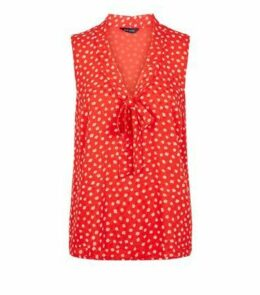 Red Ditsy Floral Tie Neck Blouse New Look
