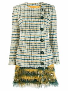 Elisabetta Franchi checkered fitted coat - Green