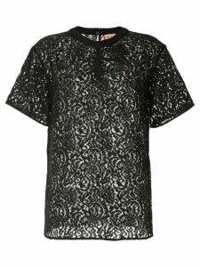 Nº21 lace gathered T-shirt - Black