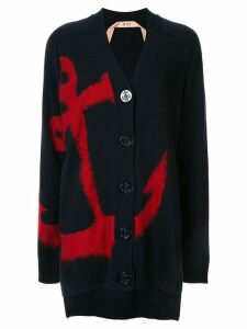 Nº21 anchor intarsia cardigan - Blue