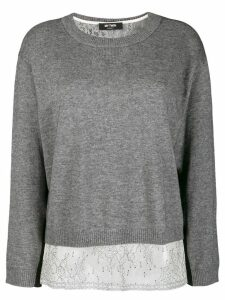 Twin-Set boxy jumper with slip top - Grey