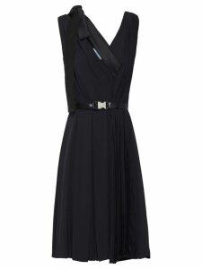 Prada bow detail V-neck dress - Black
