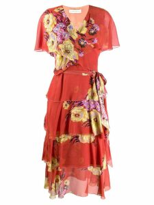 Etro floral print wrap dress - ORANGE